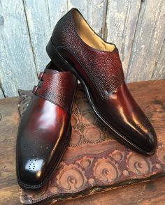 Double monks in antique burgundy for mr. BC #MTO #madetoorder #menshoes…