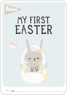 "Milestone™ | ""My first Easter"" Free Printable now available! shop.milestone-world #milestonebaby #christmas #freegift #milestonebaby"