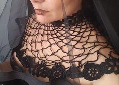 #gothiccollar #blackcollar #crochetcollar #lacecollar #victoriancollar #irishcrochetcollar #gothicwedding #collarnecklace #shouldernecklace #blackwedding #punkbride #gothicbride #sexygothic #alternativewedding Victorian Collar, Victorian Lace, Victorian Fashion, Crochet Collar, Lace Collar, Alternative Wedding, Alternative Fashion, Irish Crochet, Crochet Lace