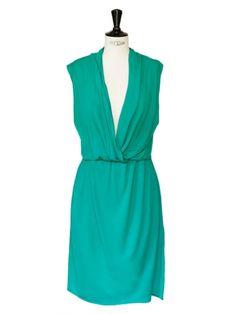 Robe sans manches drapée vert émeraude Px boutique 1000€ Taille 36