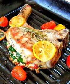 Stuffed Tomahawk Pork Chop