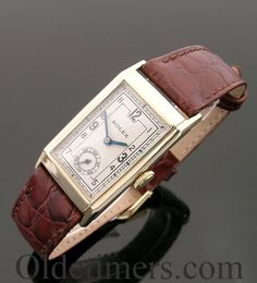 A 9ct gold rectangular vintage Rolex watch, 1930s