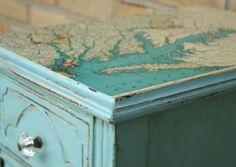 Decoupaged vintage table