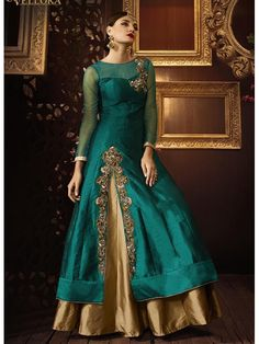 Vellora Eid Special Teal Net Wedding Wear Embroidered Work Anarkali Suit