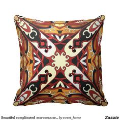 Beautiful complicated  moroccan ornament. throw pillow  Moroccan ornament for bedroom make interior unique and add aesthetics sense. Ornament create in oriental tradition. #Home #decor #Room #accessories #Interior #decorating #Idea #Styles #abstract