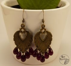 Boucles d'oreilles chandelier feuille, perles de couleur rouge : Boucles…