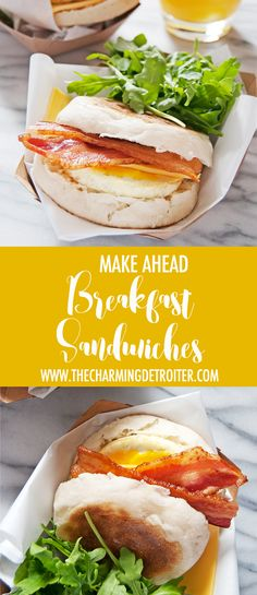 Make ahead breakfast sandwiches feature egg, bacon, and cheese on an English…