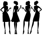 Vector illustration of four young elegant women at a cocktail party   stock photography