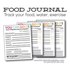 Perfect! Just what I need. Printable Food Journal with something for everyone!