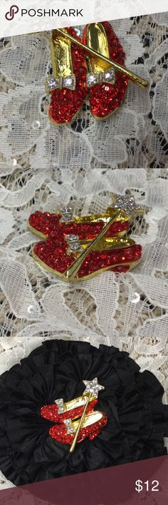 Ruby Red Slippers - Wizard of Oz - Brooch Red rhinestone shoes with a clear rhinestone wand, gold tone, too cute! Jewelry Brooches