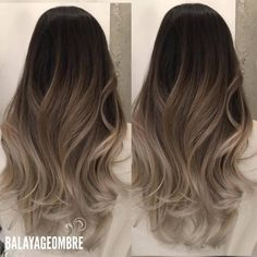 the most beautiful trendy hair models trend New beautiful models trend trendy brownombrehair 539376492870506292 Grey Balayage, Hair Color Balayage, Hair Highlights, Color Highlights, Brown Ombre Hair, Ombre Hair Color, Brown Hair With Blonde Tips, Hair Color For Tan Skin, Long Ombre Hair