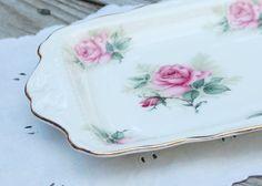 Vintage Crown Victorian Staffordshire England Claremont Rose fine bone china platter/tray, breast cancer fund