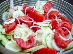 """Crisp Cucumber & Tomato Salad INGREDIENTS: 3 med cucumbers-peel & slice 1/4""""; 1 med onion-slice & separate; 3 med tomatoes-cut in wedges; 1⁄2 cp vinegar; 1⁄4 cp sugar; 1 cp water; 2 tsp salt; 1/4 tsp black pepper; 1⁄4 cp oil DIRECTIONS Combine all; Chill 2 hours before serving."""