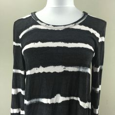 Rachel Roy Woman's Black and White Large Stripe Long Sleeve Shirt Sz Small | eBay