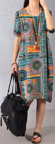 US$19.73 O-NEWE Chinese Style Printed Short Sleeve Vintage Women Dress