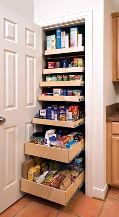Sliding shelves in the pantry.