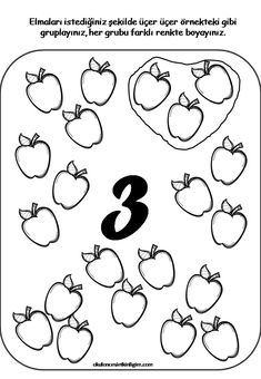 3'lü gruplama Numbers Preschool, Preschool Printables, Kindergarten Activities, Preschool Activities, Math For Kids, Fun Math, Teaching Kids, Kids Learning, Kids Math Worksheets