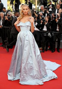 Elsa Hosk in Alberta Ferretti at the 2017 Cannes Film Festival