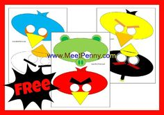 Angry Birds Masks printable..I can see using these to as a therapy game that targets language goals