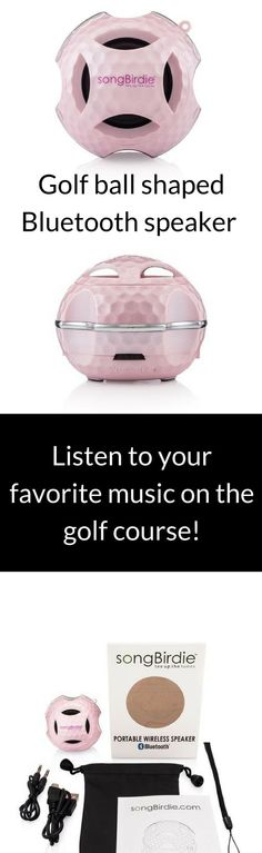 The coolest ladies golf accessory! Listen to your fave music on the golf course. Golf ball shaped Bluetooth mini speaker allows golfers to listen to their music on and off the golf course. Ideal as for golf tournament swag bags. Explore songBirdie accessories at https://songbirdie.myshopify.com/collections/gbsbt/products/gbsbt-pink?variant=29639179463