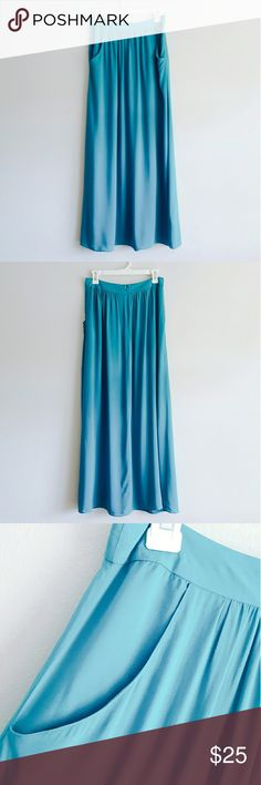 """NWOT New Look Blue Maxi Skirt New without tag. Never worn. Length approx. 40"""" Waist approx. 15"""" Brand: New Look Size: 10 Fabric: 100% Viscose A-Line Two pockets. No lining. 1142/2450673/48 Made in China  Tags: NewLook, long skirt, hijab, islam, islamic, Muslim, New Look Skirts Maxi"""