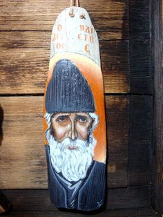 Saint Paisios from Athos Icon on drift wood Handpainted in 2019 23 x 8 cm Byzantine Icons, Drift Wood, Saints, Hand Painted, Traditional, Canvas, Color, Collection, Art