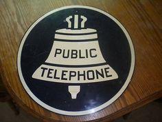 Antique public telephone sign very Rare