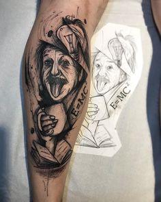 Tatuagem criada por Gustavo Takazone de Álvares Machado - SP.    Albert Einstein em sketch.