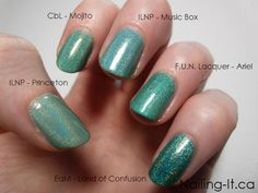 Green Holographic Nail Polish Comparison
