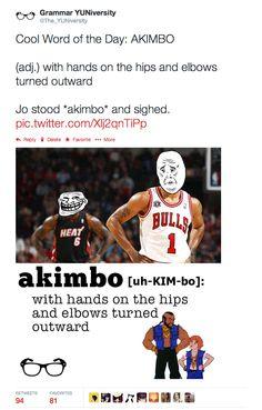 #wordoftheday #vocabular #akimbo #DerrickRose #LeBronJames #MrT