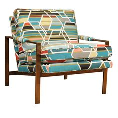 Love the fabric -> Milo Baughman Club Chair  U.S.A.  1970's  Milo Baughman design club chair in rare bronze finish, newly upholstered in Maharam designer fabric.