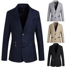 New Jeansian Zip-pocket design men's casual suit jacket 4 Colors 4 Sizes Mens Casual Suits, Mens Fashion Suits, Mens Suits, Suits Usa, Blazers For Men, Suit Jacket, Slim, Zipper, Fitness