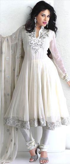 Off White Faux Georgette Flair Churidar Kameez with Dupatta    Itemcode: KSX541A    Price: US$ 122.51    Click @ http://www.utsavfashion.com/store/sarees-large.aspx?icode=ksx541a  If only I wore white....