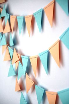 Flag Triangle Garland, Wedding Garland, Kids room decor, Paper triangle banner, Pastel garland, Pennant banner peach and blue bunting flag on Etsy, £3.92
