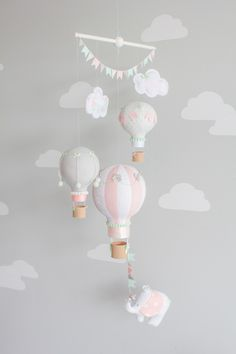 Hot Air Balloon, Baby Mobile, Elephant, Travel Theme Nursery Decor, Mint, Grey and Pink, i109 by sunshineandvodka on Etsy https://www.etsy.com/listing/240022940/hot-air-balloon-baby-mobile-elephant