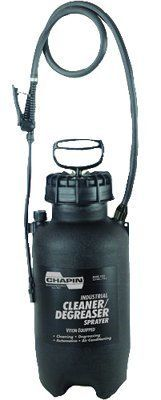 """Chapin? - Cleaner/Degreaser Sprayers 2 Gallon Cleaner/Degreaser Sprayers - Sold as 1 Each by Chapin Products. $94.28. Chapin? - Cleaner/Degreaser Sprayers 2 Gallon Cleaner/Degreaser Sprayers - Sold as 1 EachSealTite acid and chemical resistant seals and gaskets. Wide opening for easy filling and cleaning. Auto/manual high pressure relief valve. """"Lock-off"""" feature to prevent accidental discharge. Adjustable poly cone nozzle sprays coarse stream to a fine mistBody Material: Polyeth..."""
