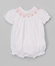 Another great find on #zulily! White Smocked Flowers Bubble Romper - Infant #zulilyfinds