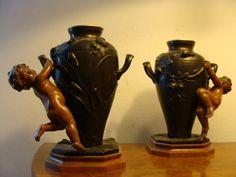 Bronze Figur Henkel Amphore Vasen Paar Klassizismus Putti Akt  A. Moreau um 1900