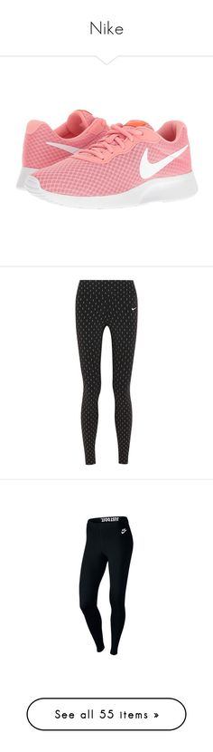 """Nike"" by emilielabreyere ❤ liked on Polyvore featuring shoes, athletic shoes, sneakers, crimson shoes, round cap, laced shoes, round toe shoes, white athletic shoes, activewear and activewear pants"