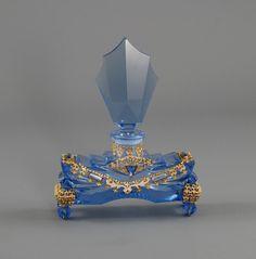 Antique Art Deco Blue Czech Perfume Bottle RARE, signed twice. Art Nouveau, Art Deco, Bottles And Jars, Glass Bottles, Charles Eames, Antique Glass, Antique Art, Chanel Perfume, Fru Fru