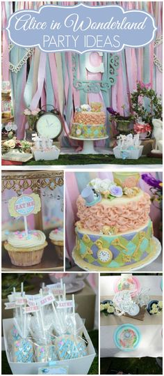 This Alice in Wonderland first birthday is sweet and whimsical! See more party ideas at CatchMyParty.com!