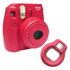 Fujifilm Instax Mini 8 Photo Film Camera + Close-up Lens Selfie Fuji Instant Raspberry