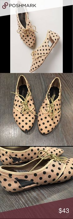 Anthropologie Matisse prep dot oxfords shoes These shoes are sooo adorable but don't fit me so I have to let them go :( They are size 7.5 but I listed them as 7 because they run small. I wouldn't recommend these for someone with wide feet (like me) . Never worn only tried on. Anthropologie polka dot shoes. Open to reasonable offers. Anthropologie Shoes Flats & Loafers