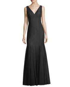 Deep V-Neck Mesh-Layer Gown