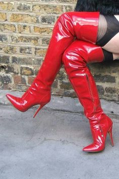 Red Patent Thigh Boot with 5 inch Stiletto Heel. Suitable for men or women. Thigh high boots with stiletto heels from Pleaser Shoes. Thigh High Boots Heels, Stiletto Boots, Black High Heels, Heeled Boots, Shoe Boots, Shoes Heels, Grey Shoes, Crotch Boots, Talons Sexy