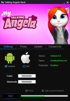My talking angela hack tool no survey cheats engine free download for android apk & ios with My talking angela hack apk get unlimited coins and diamonds.