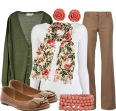 Fall teacher outfit...  but I probably would not make it through the day wearing a scarf. cute though.