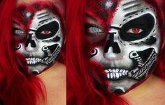 HALF ROBOT (CYBORG) FACE FOR HALLOWEEN/KARNEVAL TUTORIAL Face-painting a...