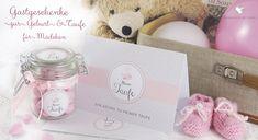 DIY Gastgeschenke zur Taufe und Geburt: Sticker, Grußkarten, Schleifen u.vm. erhältlich bei Grußkarte mit Herz