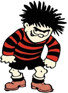 Dennis the Menace of the Beano magazine fame. Comic Book Characters, Comic Character, Comic Books, Disney Characters, Dennis The Menace, Rock And Pebbles, Saturday Morning Cartoons, Cartoon Art, Vintage Cartoon